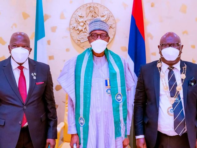 President Buhari receives in courtesy visit Governing Council of  CIIN   in State House
